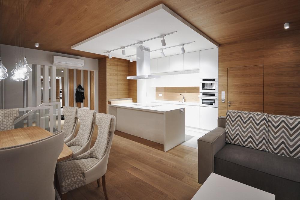 Aranżacja Mieszkania #1, stworzona i wykonana przez warsztat Don't Worry, tworzący aranżację wnętrz oraz wykonujący meble na zamówienie.
