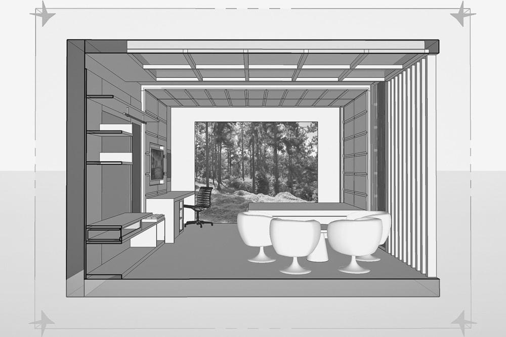 Wizualizacja Pokoju Hotelowego, wykonana przez warsztat Don't Worry, tworzący aranżację wnętrz oraz wykonujący meble na zamówienie.